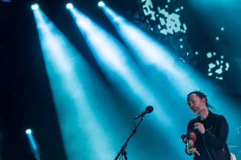 ARGENTINA , 14.04.2018 , O vocalista Thom Yorke  da danda Radiohead fez delirar a mais de 39.000 argentinos com um show histórico em tecnopolo no quadro da primeira edição do soundhearts festival. Credito Santiago Bluguermann / Rockpix