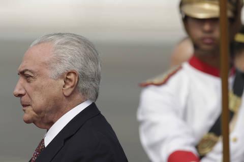 Brazil's President Michel Temer, arrives to attend a ceremony marking Army Day, in Brasilia, Brazil, Thursday, April 19, 2018. (AP Photo/Eraldo Peres) ORG XMIT: ERA104