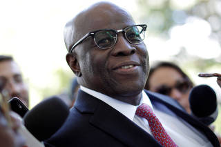 Joaquim Barbosa, former Chief Justice in Brazil, is seen before a meeting with PSB Election Commission in Brasilia