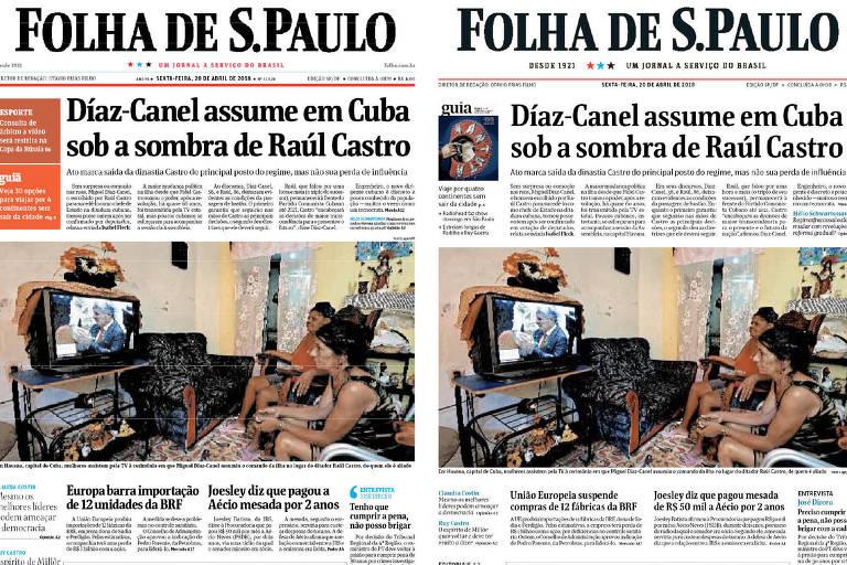 No dia da estreia do projeto gráfico de 2018 a versão da Folha impressa foi com duas capas. Uma com o projeto antigo e outra com a novidade