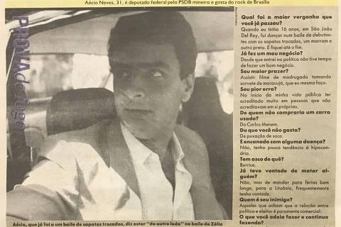 Reprodução da página 18 da REVISTA d', publicada pela Folha de S.Paulo, em 5 de maio de 1991, que traz entrevista com o então deputado federal Aécio Neves. (Foto: Folhapress)