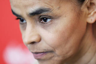 Brazilian Rede Sustentabilidade Party (REDE) presidential candidate Marina Silva attends a news conference in Sao Paulo