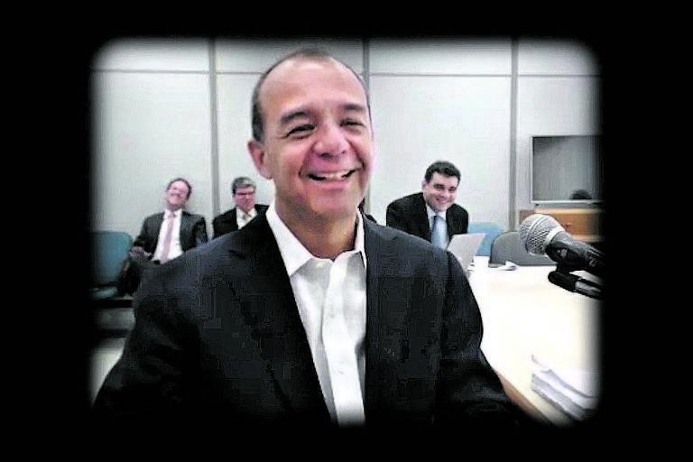 O ex-governador do Rio Sérgio Cabral durante depoimentos sobre as operações Calicute, Mascate, Eficiência e Fatura, algumas pelas quais responde na cadeia