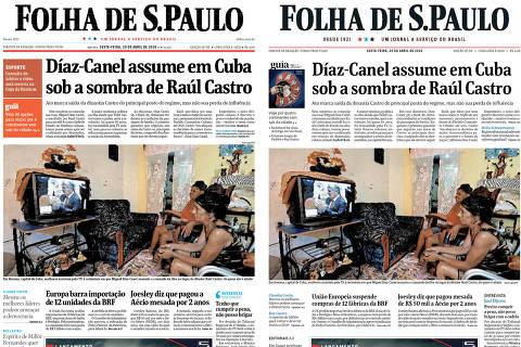 Duas Primeiras Páginas da Folha de 20 de abril de 2018, quando jornal passou por reforma gráfica; à esq., na versão anterior; à dir., no novo projeto