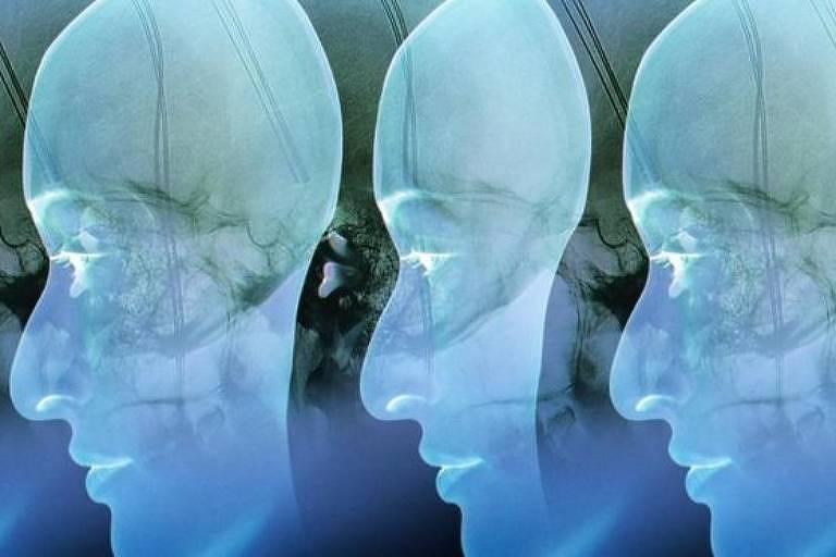 Ilustração de três rostos iguais de perfil