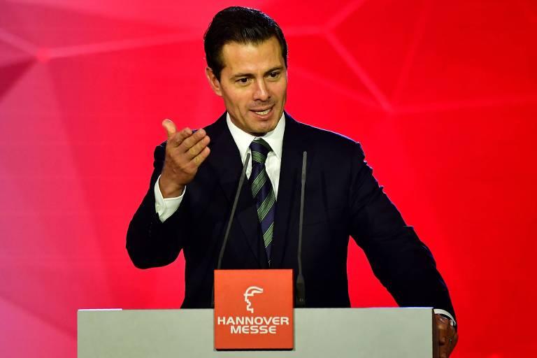 Presidente mexicano, Enrique Pena Nieto, em discurso feito em Hannover