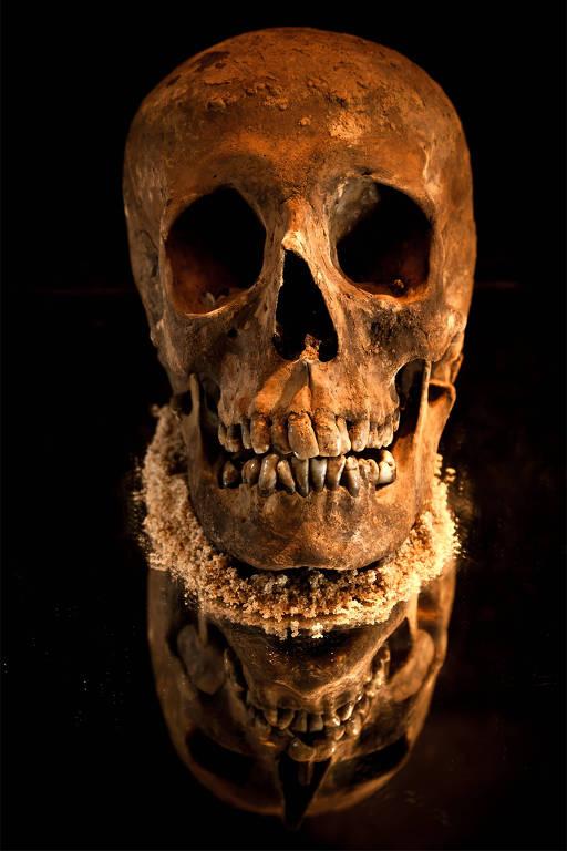 Reconstrução feita em 3D a partir de fotografia do crânio do monarca | Crédito: © MAURICIO DE PAIVA/National Geographic Brasil, cedida por José Luís Lira.