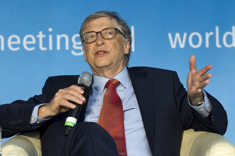 CORRECTS TO SATURDAY APRIL 21, 2018-Co-Chair of the Bill & Melinda Gates Foundation Bill Gates speaks at the panel Building Human Capital: A Project for the World, during the World Bank/IMF Spring Meetings,  in Washington, Saturday, April 21, 2018. ( AP Photo/Jose Luis Magana) ORG XMIT: DCJL112