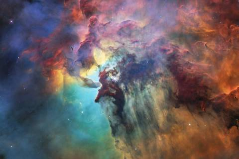 TOPSHOT - A handout photo released on April 19, 2018 by the European Space Agency shows this colourful image of the Lagoon Nebula to celebrate the 28th anniversary space of the the NASA/ESA Hubble Space Telescope.  The whole nebula, about 4000 light-years away, is an incredible 55 light-years wide and 20 light-years tall. This image shows only a small part of this turbulent star-formation region, about four light-years across. This stunning nebula was first catalogued in 1654 by the Italian astronomer Giovanni Battista Hodierna, who sought to record nebulous objects in the night sky so they would not be mistaken for comets. Since Hodierna's observations, the Lagoon Nebula has been photographed and analysed by many telescopes and astronomers all over the world. The observations were taken by Hubble's Wide Field Camera 3 between 12 February and 18 February 2018. / AFP PHOTO / ESA/Hubble AND NASA / - / RESTRICTED TO EDITORIAL USE - MANDATORY CREDIT