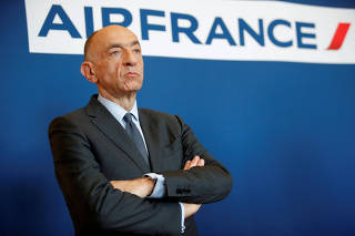 Jean-Marc Janaillac, CEO of Air France-KLM Group, attends a news conference in Paris