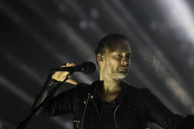 Thom Yorke, vocalista do Radiohead, durante o Soundhearts Festival em São Paulo