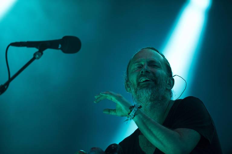 O vocalista Thom Yorke durante apresentacao da banda Radiohead no Soundhearts Festival, no Allianz Parque, em São Paulo
