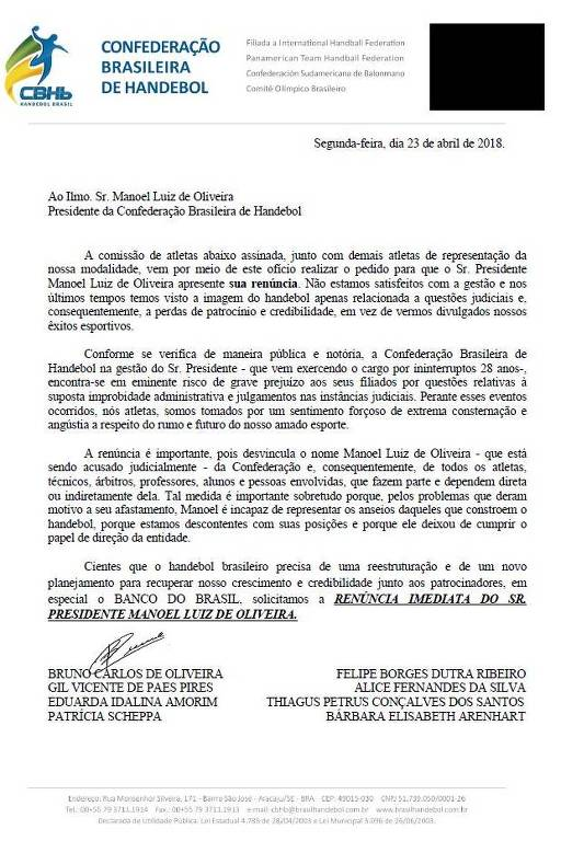 Documento com atletas pedindo renúncia do presidente da Confederação Brasileira de Handebol
