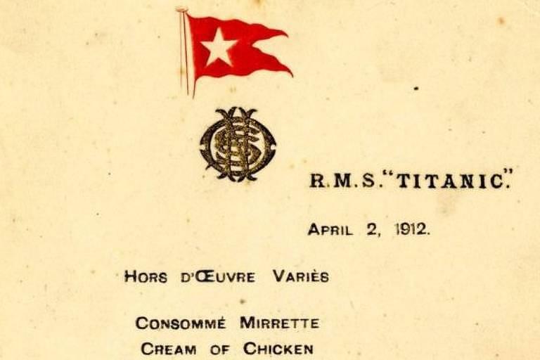Almoço foi servido a funcionários no primeiro dia dos testes do navio no mar, em 2 de abril de 1912