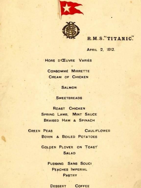 """Alan Aldrige, responsável pelo leilão, disse que item é um dos """"mais raros menus existentes"""""""