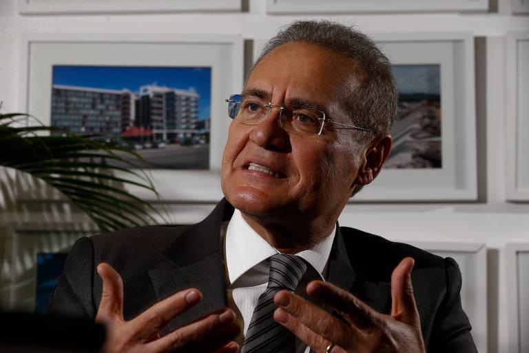 O senador Renan Calheiros (MDB-AL) durante entrevista exclusiva à Folha em seu gabinete, no Senado