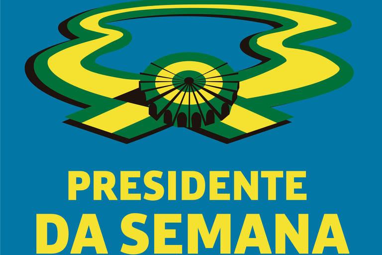 Imagem do podcast Presidente da Semana, com faixa presidencial verde e amarela e o nome do programa