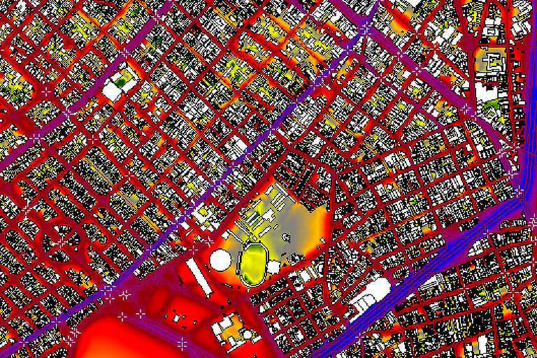 Mapa piloto de poluição sonora na região das avenidas Paulista, Brasil, 23 de Maio e Nove de Julho