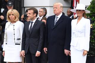 French President Emmanuel Macron and wife Brigitte welcomed by Trumps at White House. Joint press conference scheduled for noon (1600 GMT)