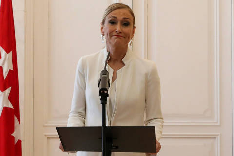 Madrid's regional president Cristina Cifuentes announces her resignation in Madrid, Spain, April 25, 2018. REUTERS/Susana Vera ORG XMIT: PDH210