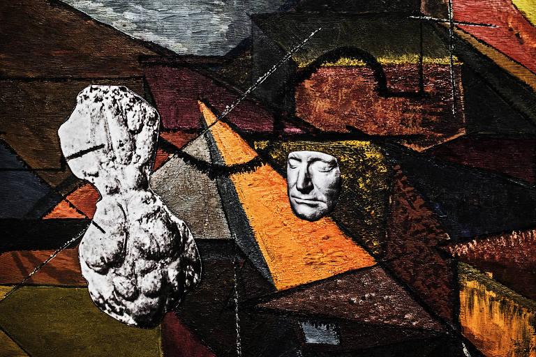 """Obra de Sofia Borges """"Pintura, Cérebro e Rosto"""" (2017)"""