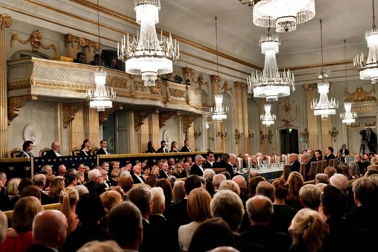 Imagem de um encontro da Academia Sueca, em Estocolmo