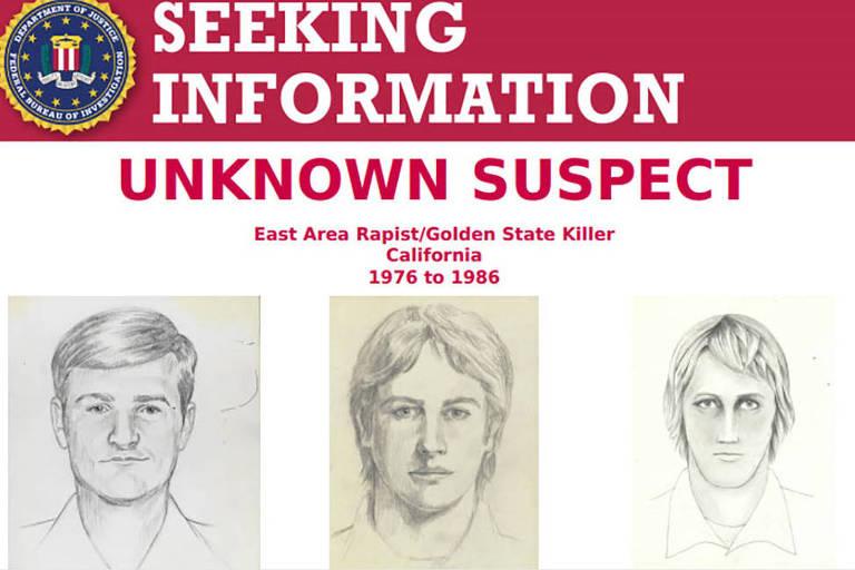 """Anúncio do FBI divulgado neste mês com retratos falados com suspeito conhecido por """"assassino de Golden State"""", acusado de 12 assassinatos e 45 estupros nos anos 1970 e 1980, nos EUA"""