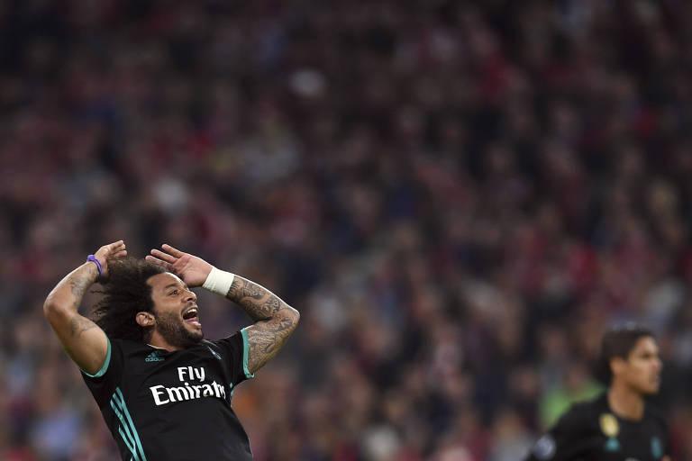Marcelo comemora gol contra o Bayern, na Allianz Arena