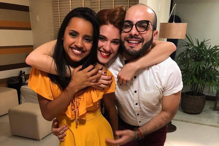 Gleici, Ana Clara e Mahmoud na casa da família Lima após BBB 18 (Globo)