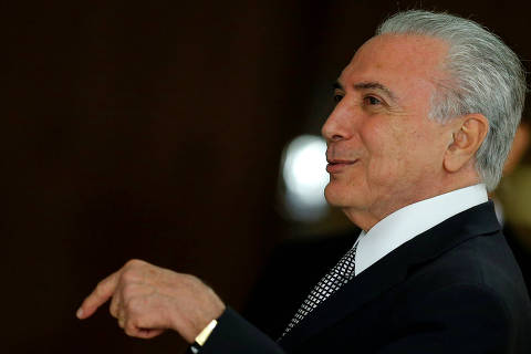 Brazil's President Michel Temer gestures during a credentials presentation ceremony for several new top diplomats at Planalto Palace in Brasilia, Brazil Abril 25, 2018. REUTERS/Adriano Machado ORG XMIT: BSB113