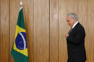 Brazil's President Temer attends a credentials presentation ceremony for several new top diplomats at Planalto Palace in Brasilia
