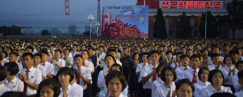 This photo taken on September 6, 2017 shows participants of a mass celebration in Pyongyang for scientists involved in carrying out North Korea's largest nuclear blast to date.