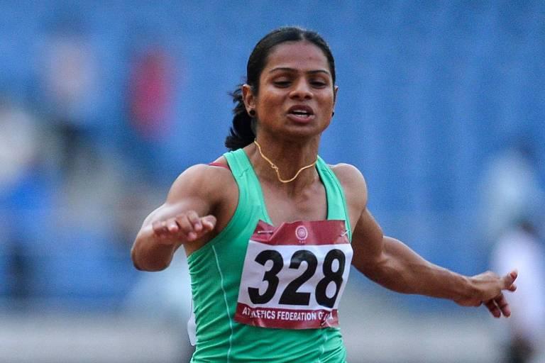 A velocista indiana Dutee Chand, em uma prova de 100 m durante o Campeonato Nacional de atletismo da Índia, quando alcançou índice para disputar a Olimpíada Rio-2016