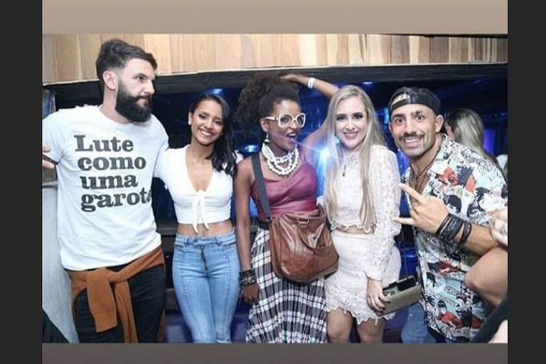 Ex-BBBs na festa de inauguração da boate de pai de Neymar, no Rio (25.abril.2018)