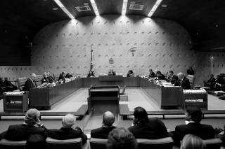 General view of session of the Supreme Court during releasing its final decision about the habeas corpus plea for the former Brazil president Luiz Inacio Lula da Silva, in Brasilia