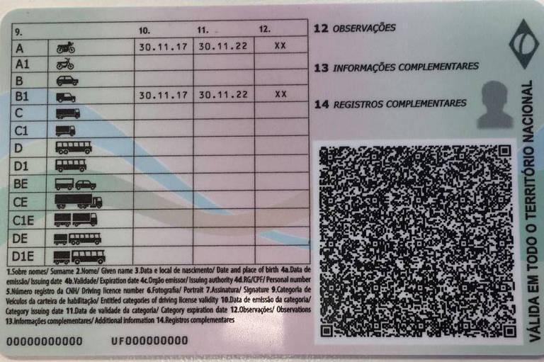 Foto mostra verso da CNH, com destaque para QR Code