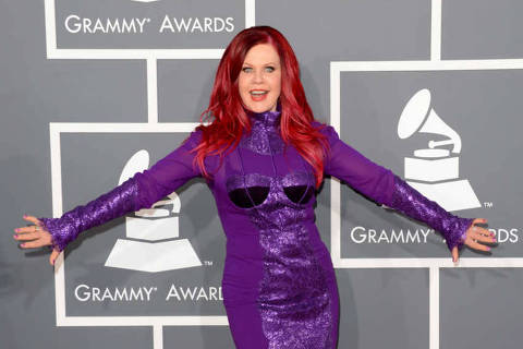 ORG XMIT: JM35 Singer Kate Pierson arrives at the 55th Annual GRAMMY Awards at Staples Center on February 10, 2013 in Los Angeles, California.   Jason Merritt/Getty Images/AFP == FOR NEWSPAPERS, INTERNET, TELCOS & TELEVISION USE ONLY ==