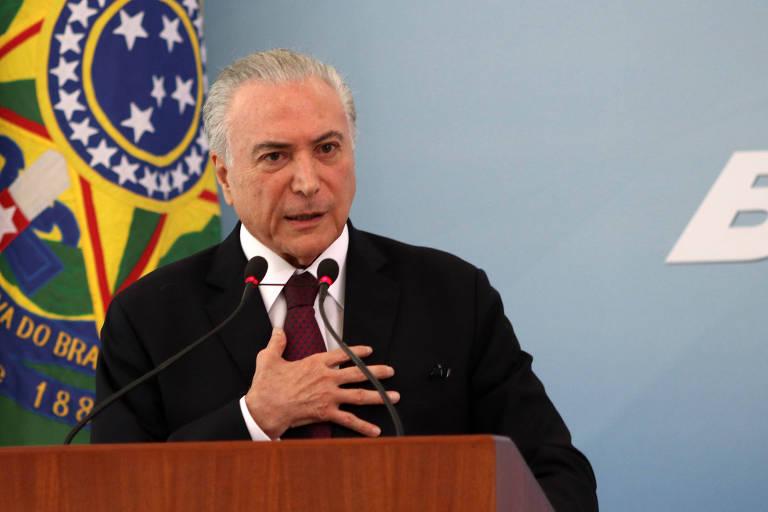 O presidente Michel Temer durante pronunciamento em resposta à reportagem da Folha sobre suspeita de que ele tenha lavado dinheiro de propina