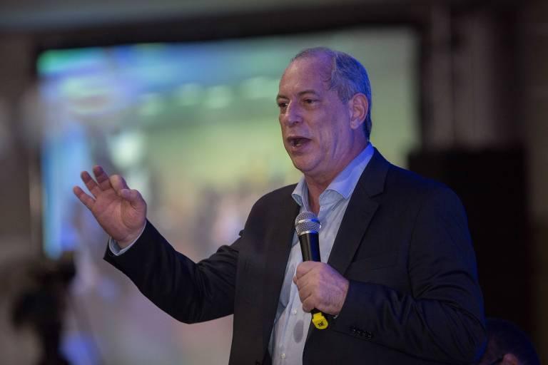 O pré-candidato Ciro Gomes em evento da UGT