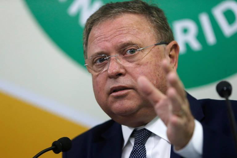 Ministro da Agricultura, Blairo Maggi em conferência em Brasília