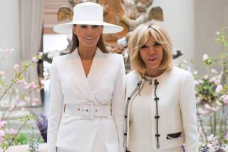 US First Lady First Lady Melania Trump And Mrs. Brigitte Macron visit the National Gallery of Art