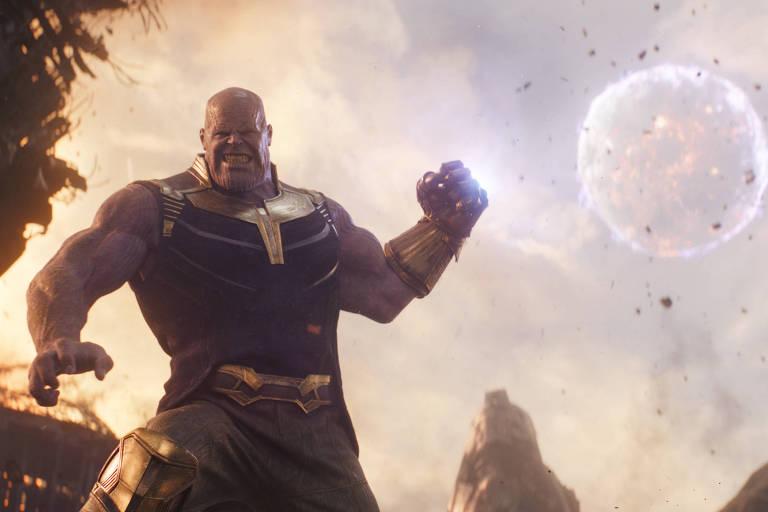 """O vilão Thanos (Josh Brolin) em cena de """"Vingadores: Guerra Infinita"""""""