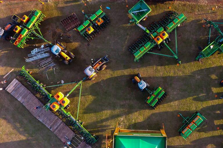 Vista da feira de agronegócio Agrishow, sendo montada  na área da fazenda Experimental em Ribeirão Preto