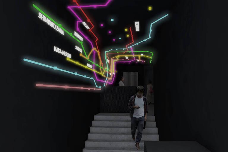 Projeção em 3D da entrada do Tokyo, novo complexo cultural na região central de São Paulo