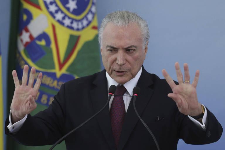 O presidente Michel Temer durante evento no Palácio do Planalto