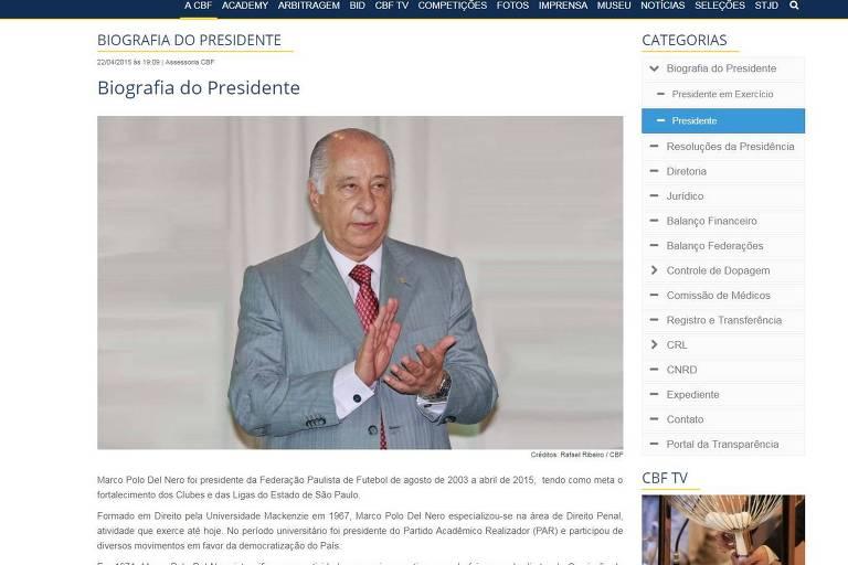 Com atraso de cinco dias, CBF tira perfil de Del Nero, banido pela Fifa