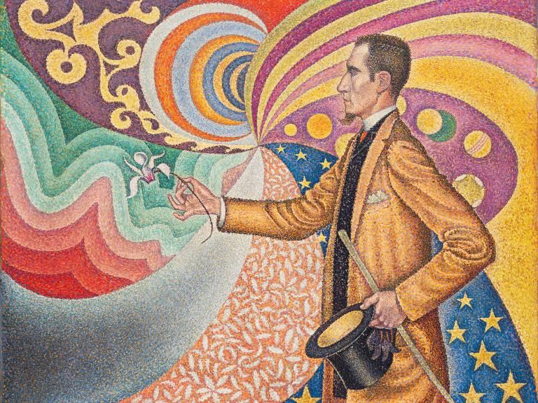 retrato do intelectual Félix Fénéon de perfil, em fundo colorido