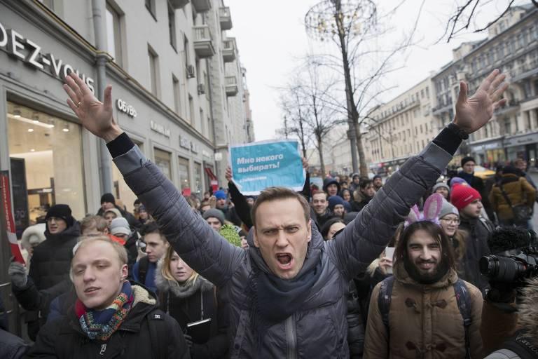 O líder oposicionista Alexei Navalni durante protesto contra Putin em janeiro deste ano em Moscou