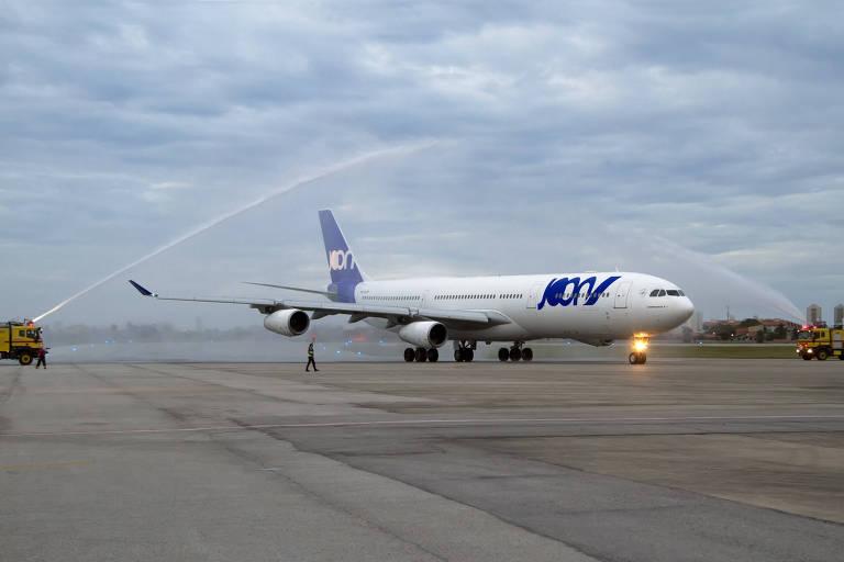 Avião da companhia low cost Joon, da Air France, depois de pousar em Fortaleza (CE)