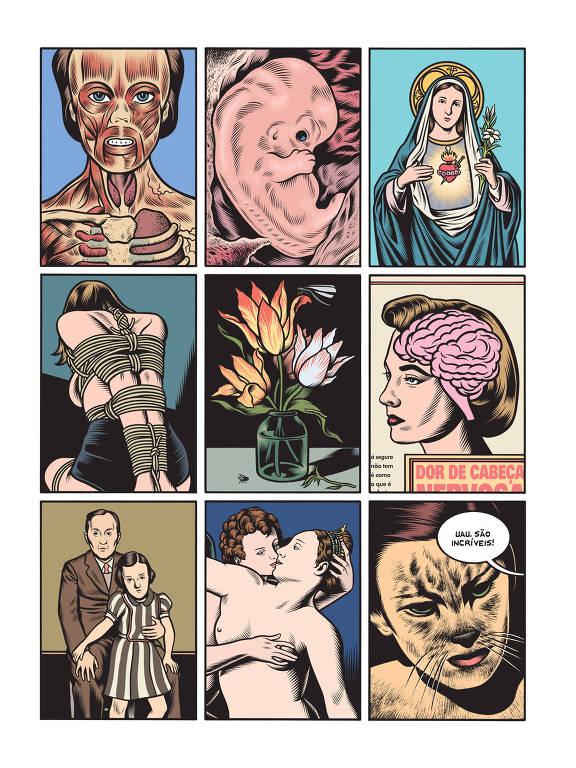 """Trecho de """"Sem Volta"""", HQ de Charles Burns, que sai pela Companhia das Letras, reunindo trilogia (X'ed Out, The Hive e Sugar Skull). Página dividida em 9 quadrinhos que mostram desenhos aparentemente desconexos; a anatomia dos músculos de uma face, um embrião, uma santa, uma pessoa amarrada com cordas,d e costas, um vaso de flores, um corte de rosto de mulher que mostra o cérebro, a reprodução de uma foto com um homem e uma criança, um casal nu que lembra pela pose uma estátua clássica, o rosto de uma personagem meio gente, meio fera"""